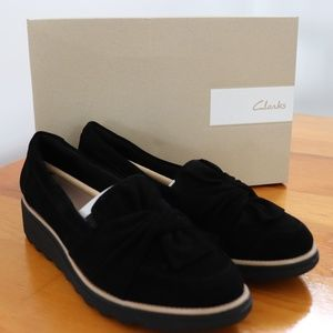 Clarks Black Suede Sharon Dasher Size 7.5